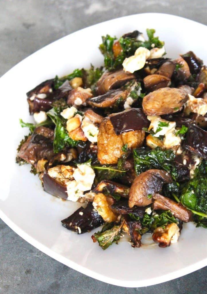 Warm Eggplant Mushroom and Kale Salad