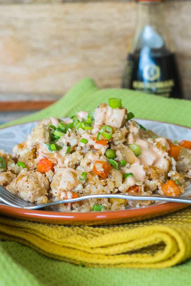 Chicken Fried Cauliflower Rice with Homemade White Sauce