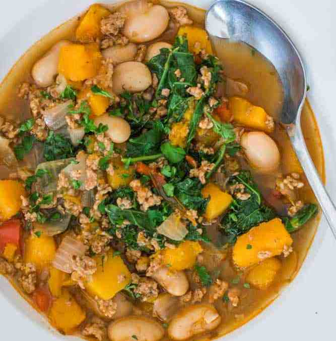Butternut and Kale Chili with Ground Pork
