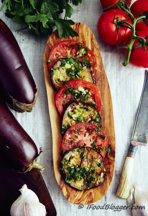 marinated eggplant and tomatoes