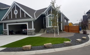Living Earth Landscapes Turf with Natural Stones and Borders - Calgary Landscaping