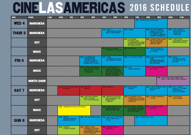Cine las Americas Screening Schedule 2016