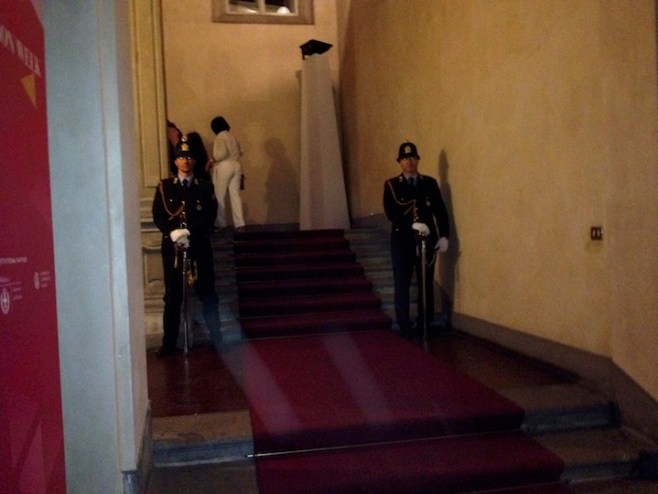 milan guards, at the entrance of fashion show