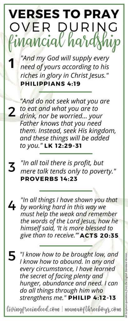 6 Verses To Pray During Financial Hardship - Free Indeed