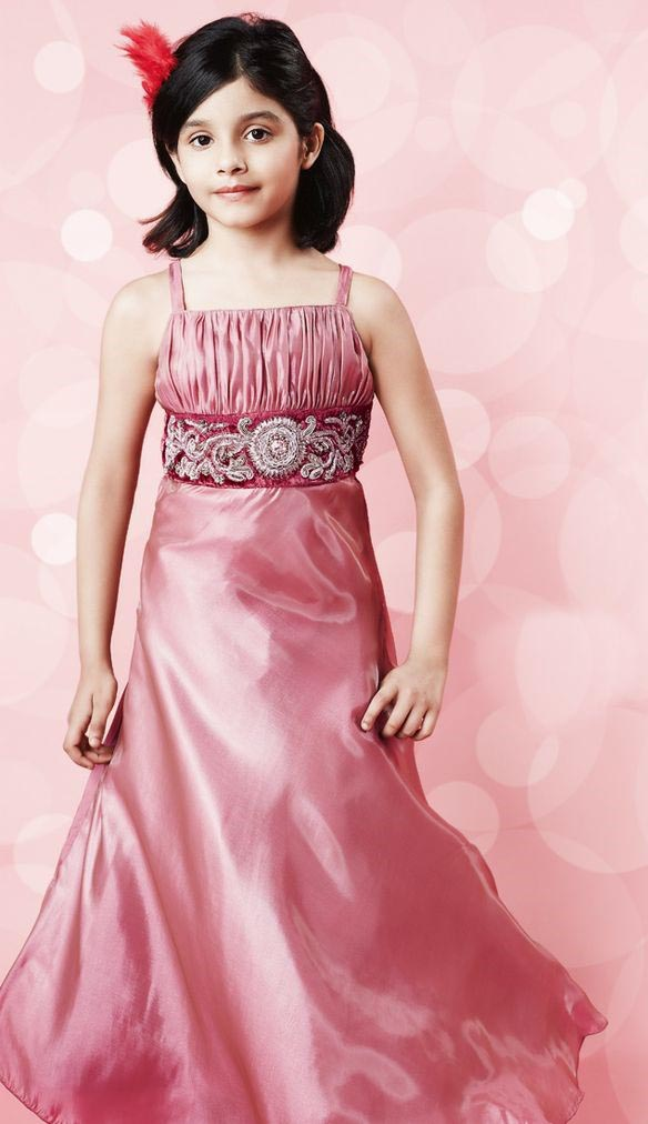 Pink Maxi Dress With Embroidered Belt