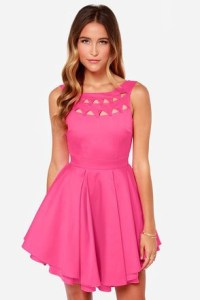 Pink Party Dress with a Unique Apple-Cut