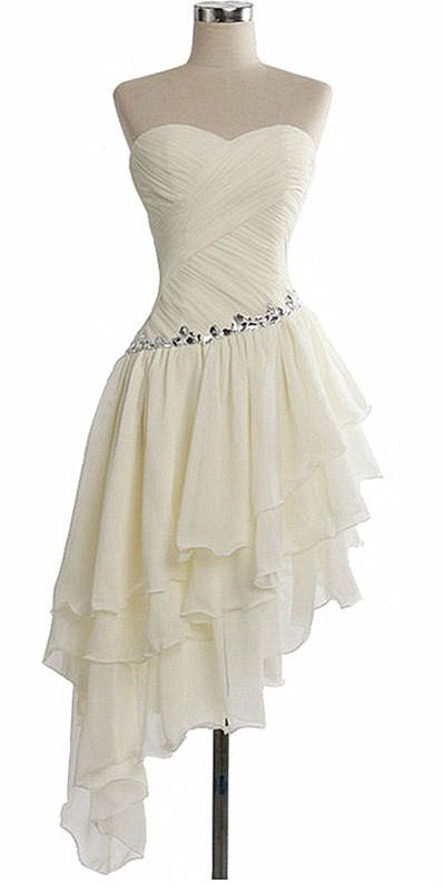 White Prom Dress with Frills & Overlapping Pattern