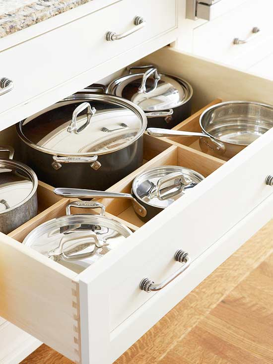 pots and pans kitchen drawer