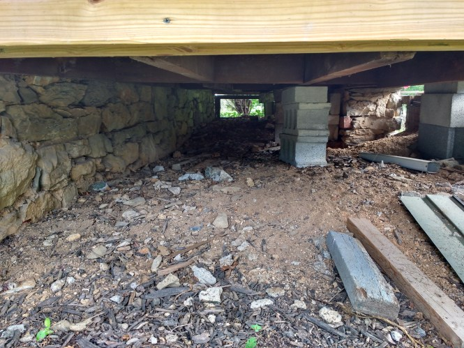 stone foundation in need of restoration loss of mortar
