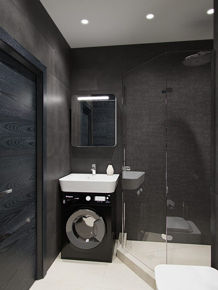 This studio apartment makes a bold statement with strong ... on Small Apartment Bathroom Ideas  id=16076