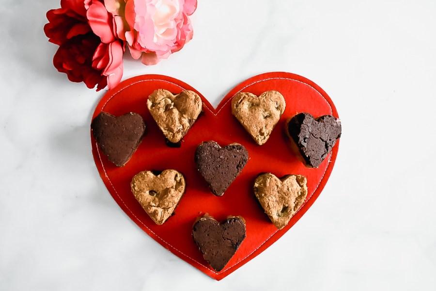 Valentine's Day Heart Brookies on a felt heart