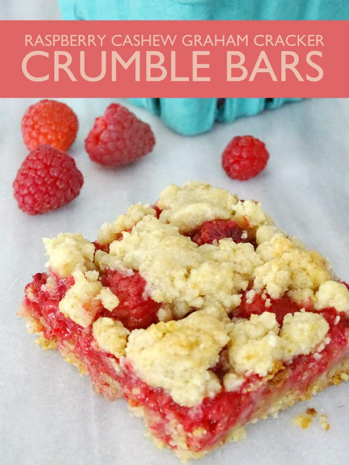 Raspberry Cashew Graham Cracker Crumble Bars