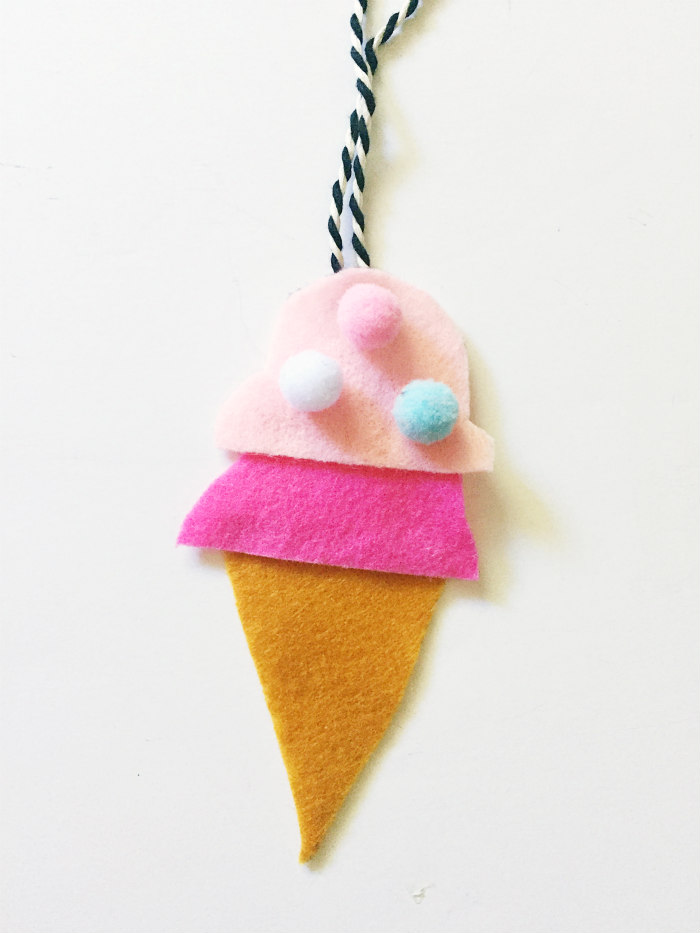 DIY Felt Car Air Fresheners - Ice Cream Cone