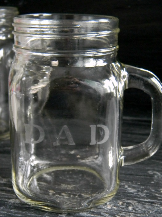 DAD Etched Mason Jar Mugs