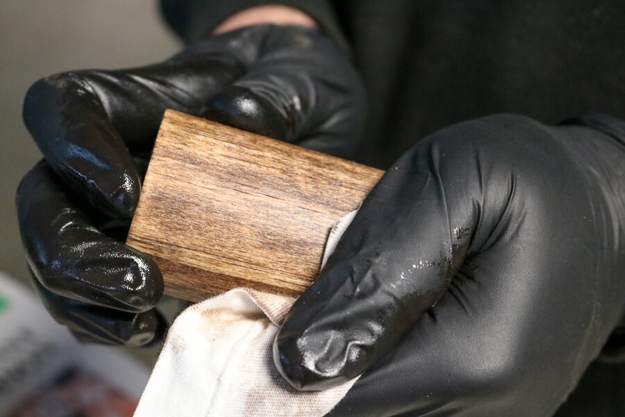 staining dowel rods for wood curtain