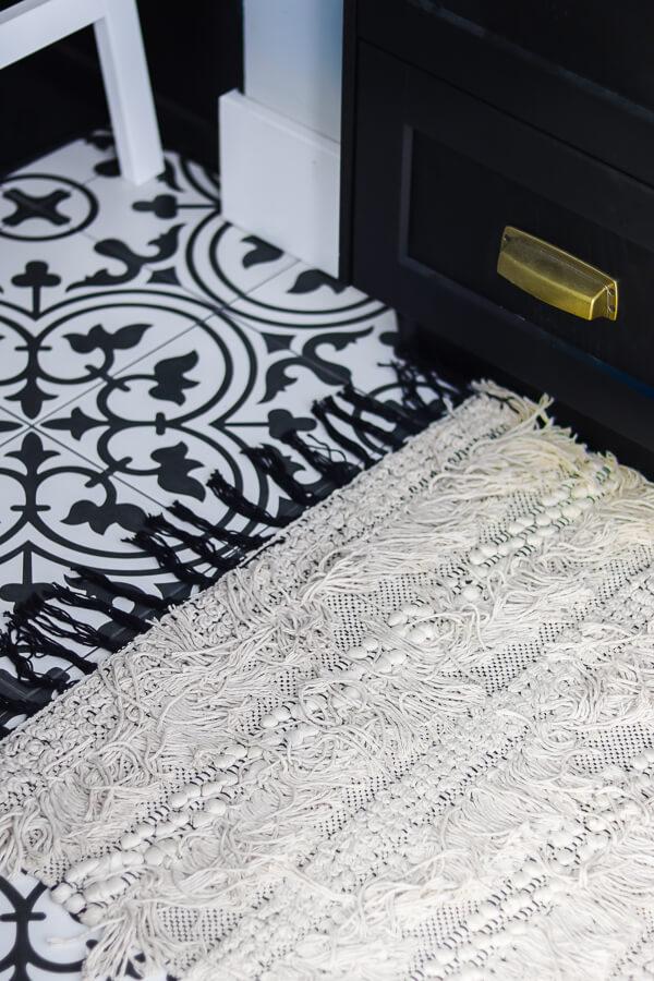 black and white tile floors