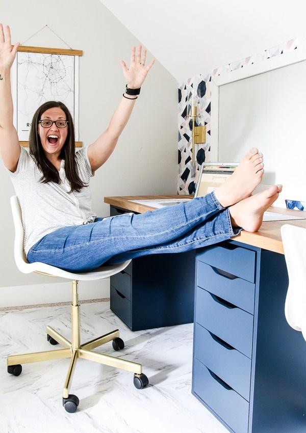 Modern and Feminine Office Reveal