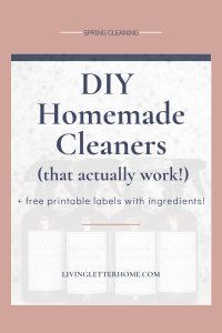 Free printable labels for DIY homemade cleaners! Including 2 different disinfectant spray cleaners!