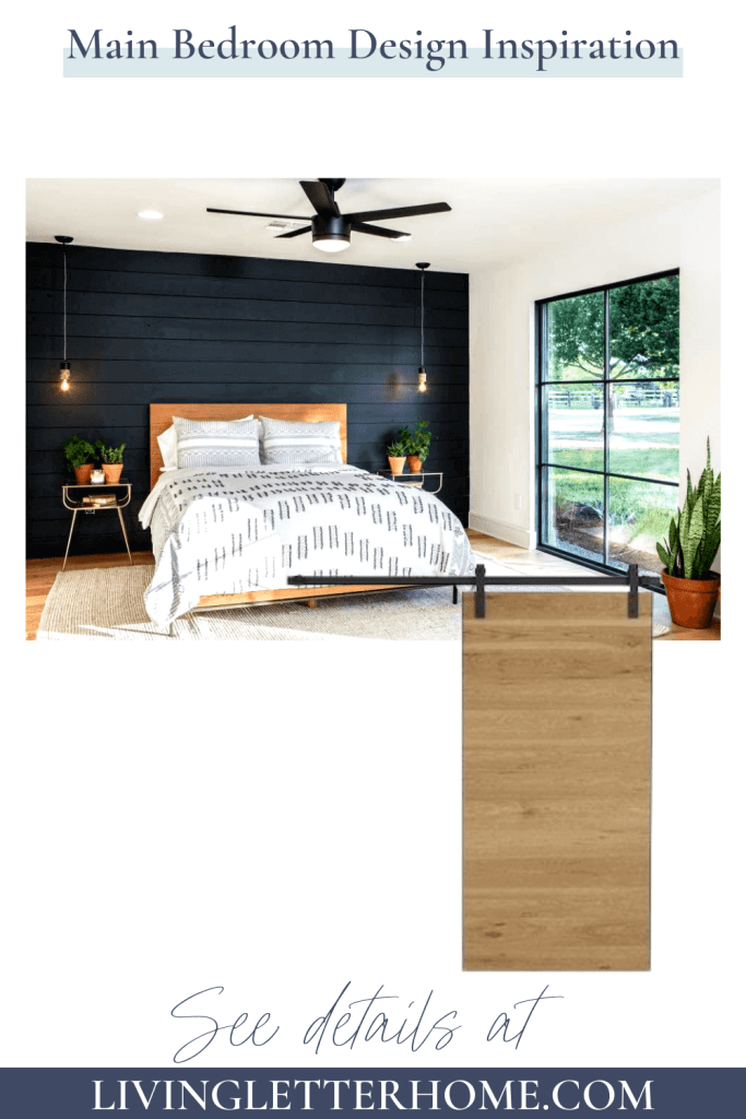 black shiplap feature wall in bedroom with wood barn door