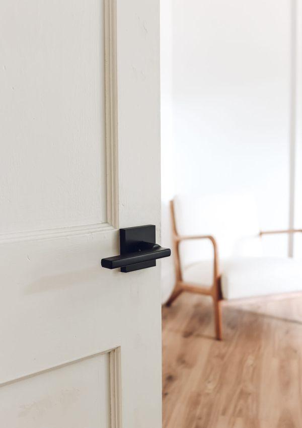 Kwikset halifax matte black door handle hardware