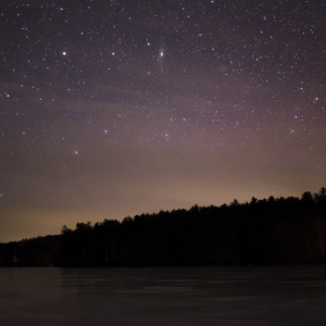 sauna lake starry sky