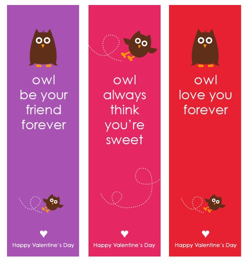 Owl Valentine's Day Bookmarks {Free Printable}