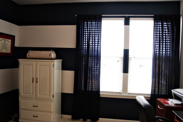 Living on Saltwater Office - Navy and White Stripes