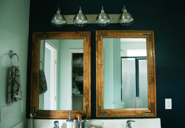 Living on Saltwater - Master Bathroom - DIY - Mirrors - Navy - Sailor's Coat - Industrial Light Fixtured