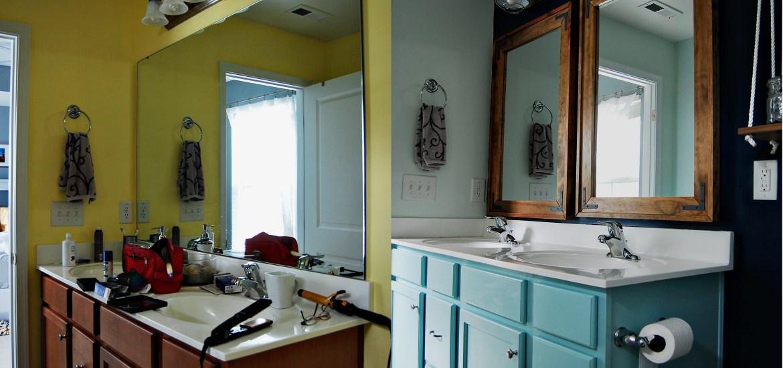 Living on Saltwater - Bathroom Makeover - Bathroom Nautical, Teal Vanity, Navy, Industrial