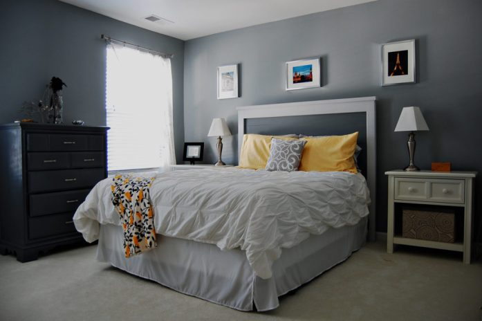 Living on Saltwater - Master Bedroom - Trout Grey - Gray - Yellow
