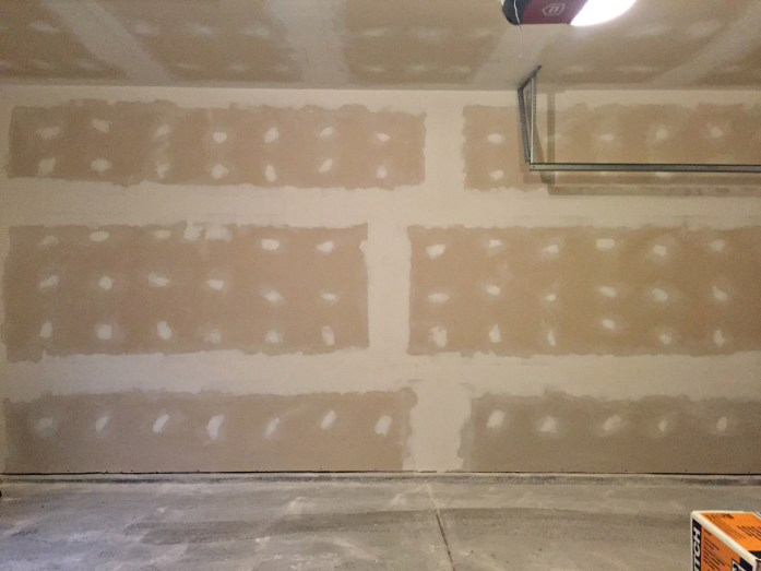 Living on Saltwater - Garage Before - Drywall - Mud Skim Coat
