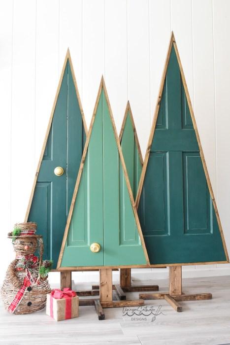Repurposed Wooden Door into Christmas Tree Tutorial - Living on Saltwater - North Carolina