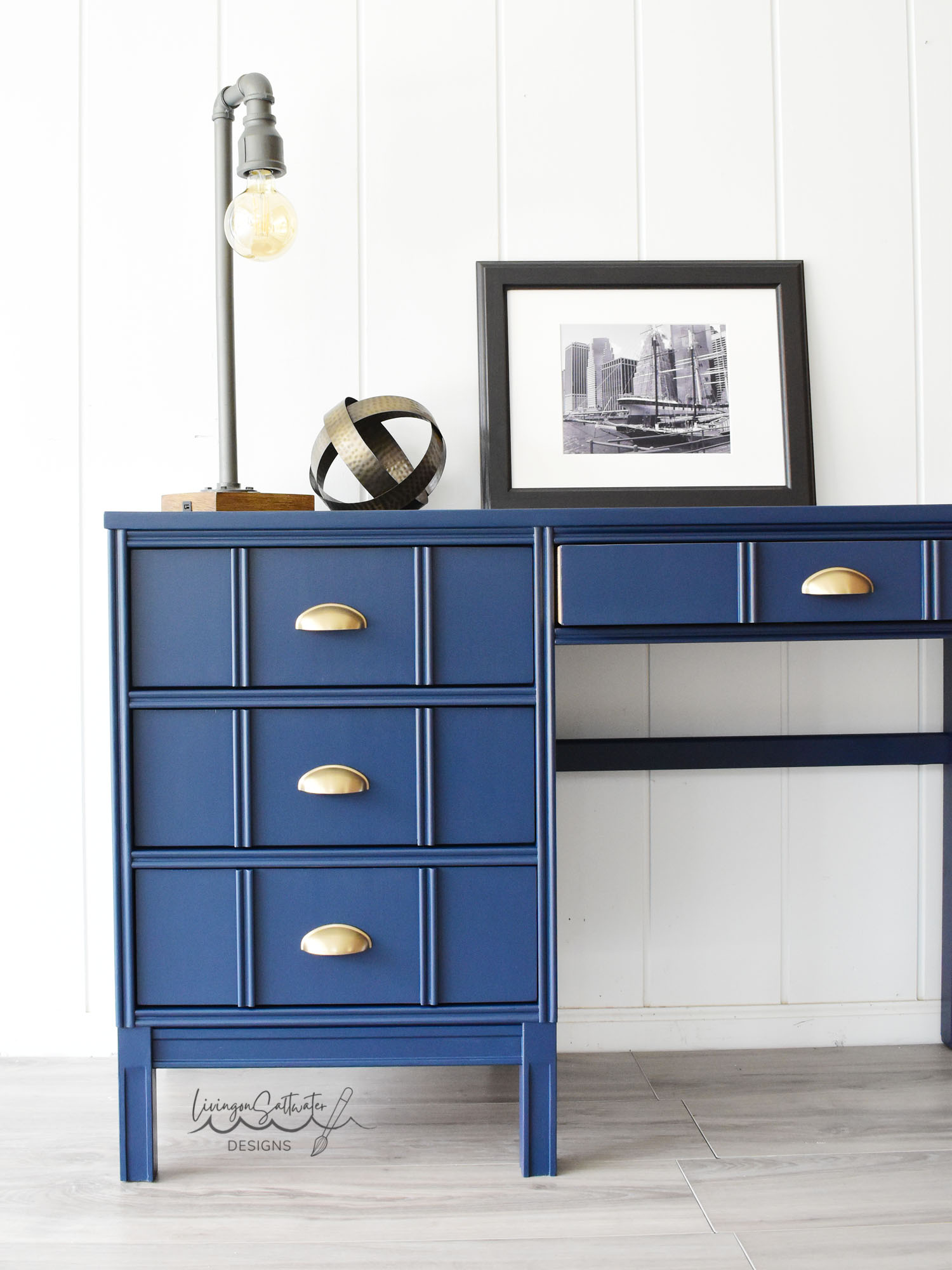 Living on Saltwater - Navy Painted Desk - Sherwin Williams Naval