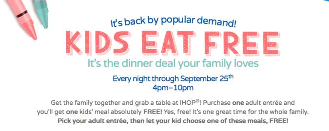 IHOP Kids Eat FREE In September! {Until 9/25, 4-10pm}