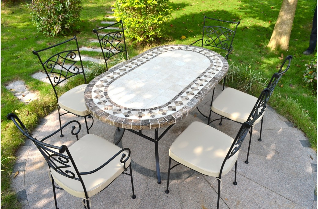 160-180cm Oval Outdoor Garden Stone Mosaic Marble Dining ... on Outdoor Living Iron Mosaic id=24701