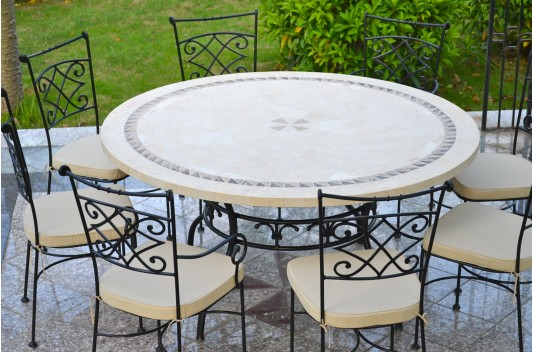 125-160cm Outdoor Garden Round Mosaic Stone Marble Dining ... on Outdoor Living Iron Mosaic id=48652