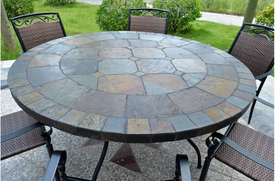 125-160cm Round Slate Patio Dining Table Tiled Mosaic - OCEANE on Outdoor Living Iron Mosaic id=77215