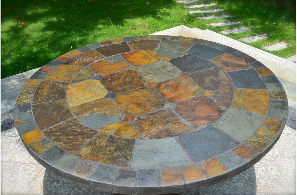 125-160cm Round Slate Patio Dining Table Tiled Mosaic - OCEANE on Outdoor Living Iron Mosaic id=24363