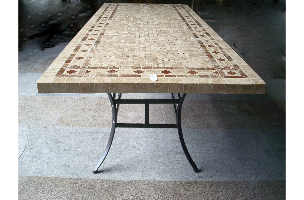 160-200-240cm Italian Mosaic Marble Outdoor Patio Table ... on Outdoor Living Iron Mosaic id=46747