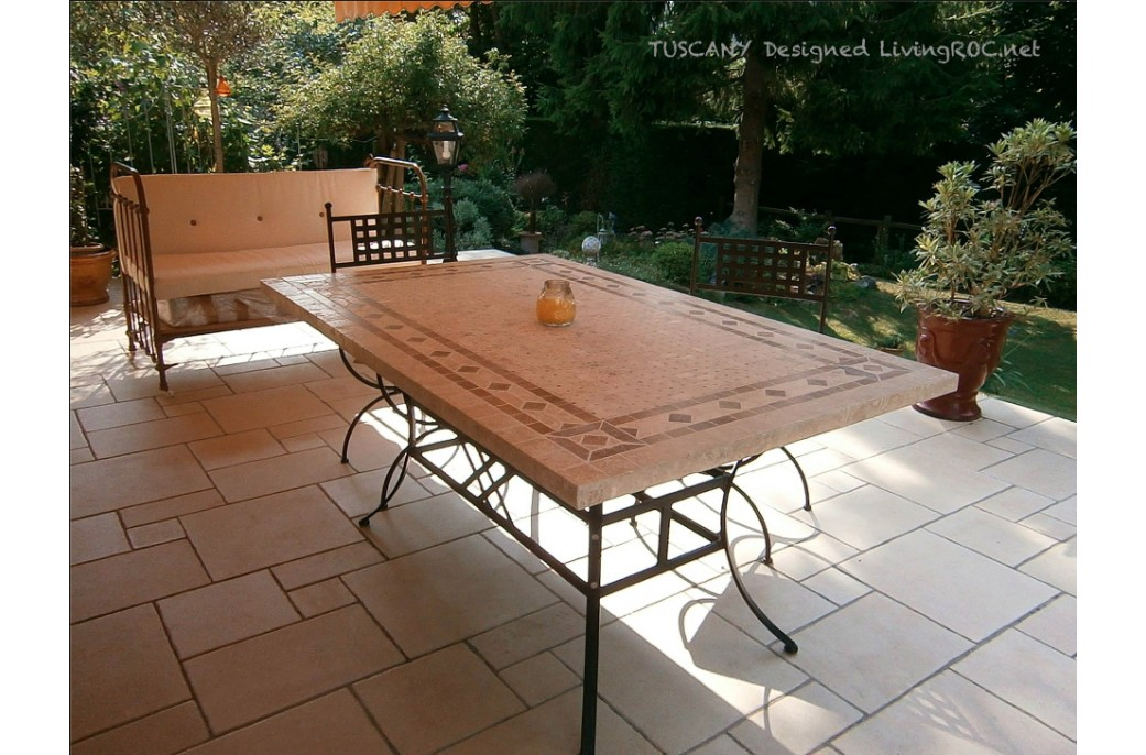 160-200-240cm Italian Mosaic Marble Outdoor Patio Table ... on Outdoor Living Iron Mosaic id=71767