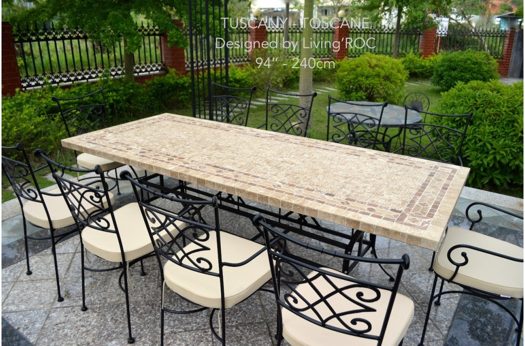 160-200-240cm Italian Mosaic Marble Outdoor Patio Table ... on Outdoor Living Iron Mosaic id=76080