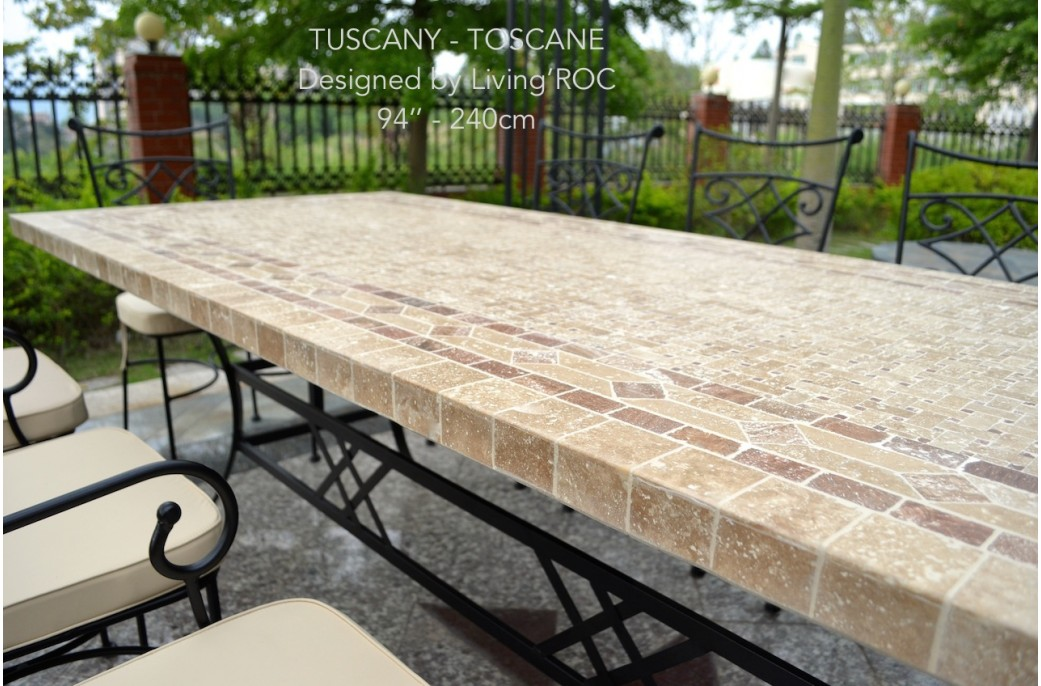 160-200-240cm Italian Mosaic Marble Outdoor Patio Table ... on Outdoor Living Iron Mosaic id=71203