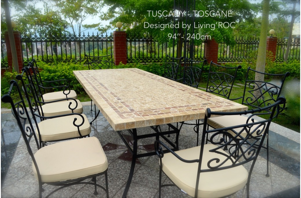 160-200-240cm Italian Mosaic Marble Outdoor Patio Table ... on Outdoor Living Iron Mosaic id=89636