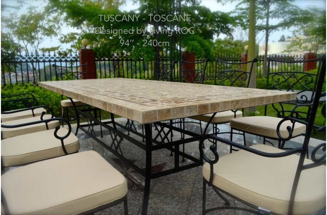 160-200-240cm Italian Mosaic Marble Outdoor Patio Table ... on Outdoor Living Iron Mosaic id=47902