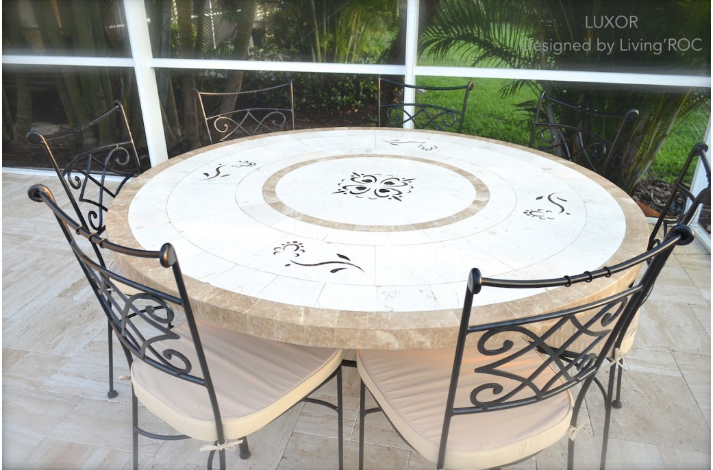 170cm Round Outdoor Garden Marble Mosaic Dining Table - LUXOR on Outdoor Living Iron Mosaic id=65872
