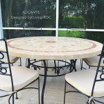 125 160cm Outdoor Mosaic Round Table Natural Stone Top Alicante