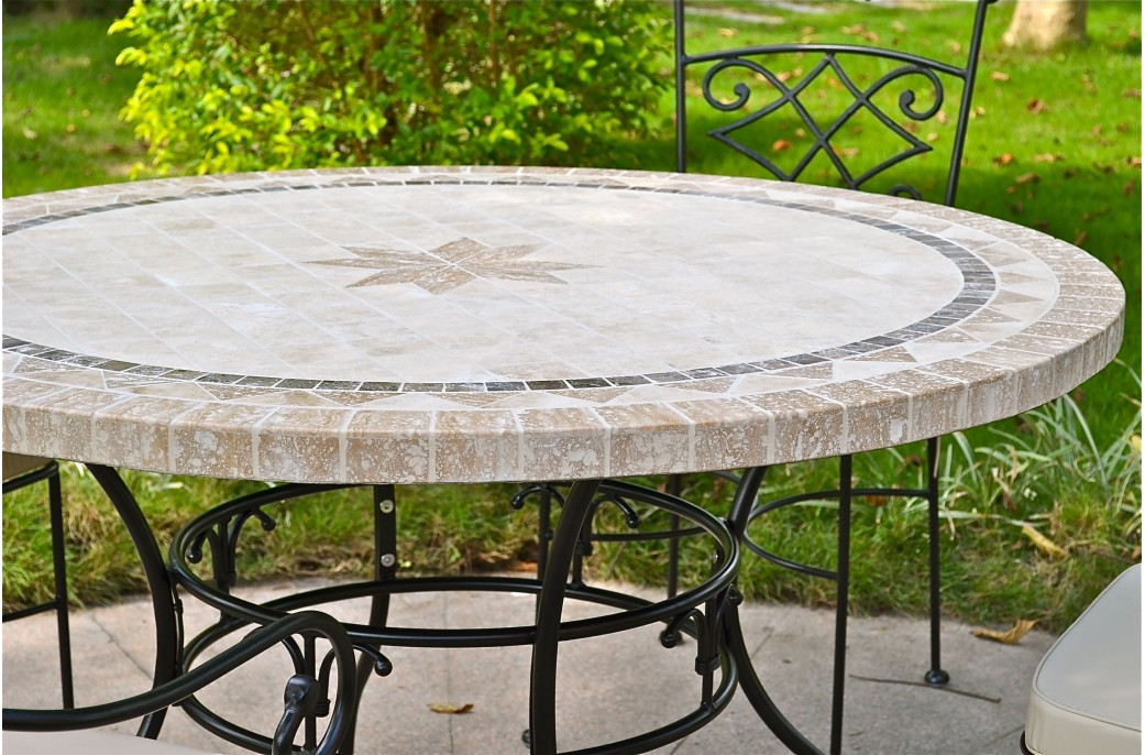 125-160cm Outdoor Garden Round Mosaic Stone Marble Dining ... on Outdoor Living Iron Mosaic id=11133