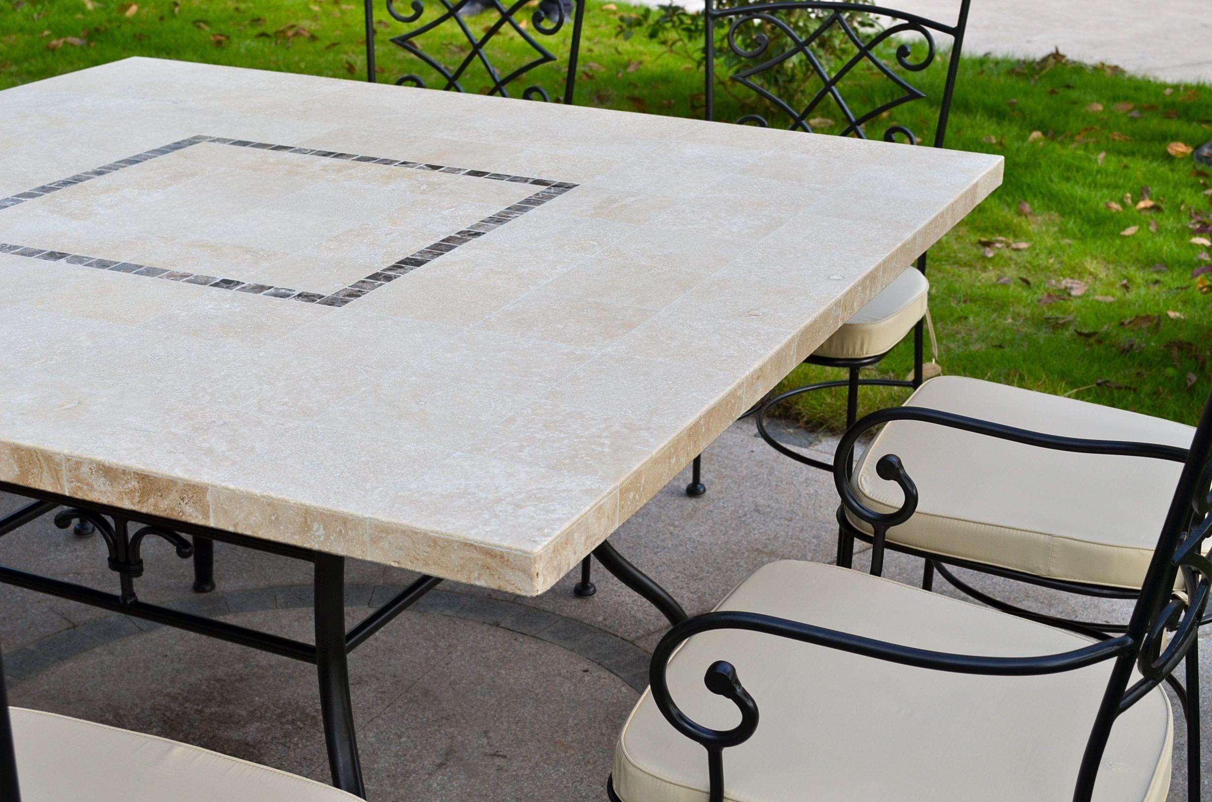 table de jardin carree mosaique de marbre travertin capri