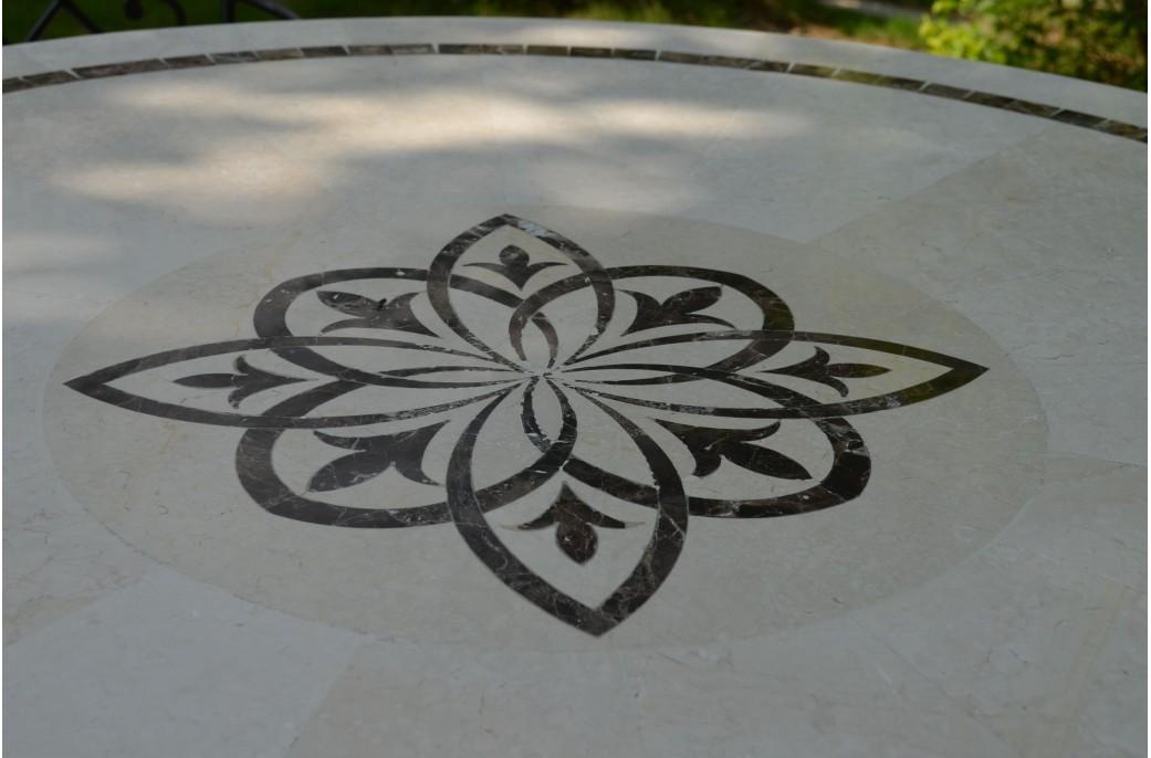 MARBELLA Table Ronde 125CM En Mosaque Emperador Et