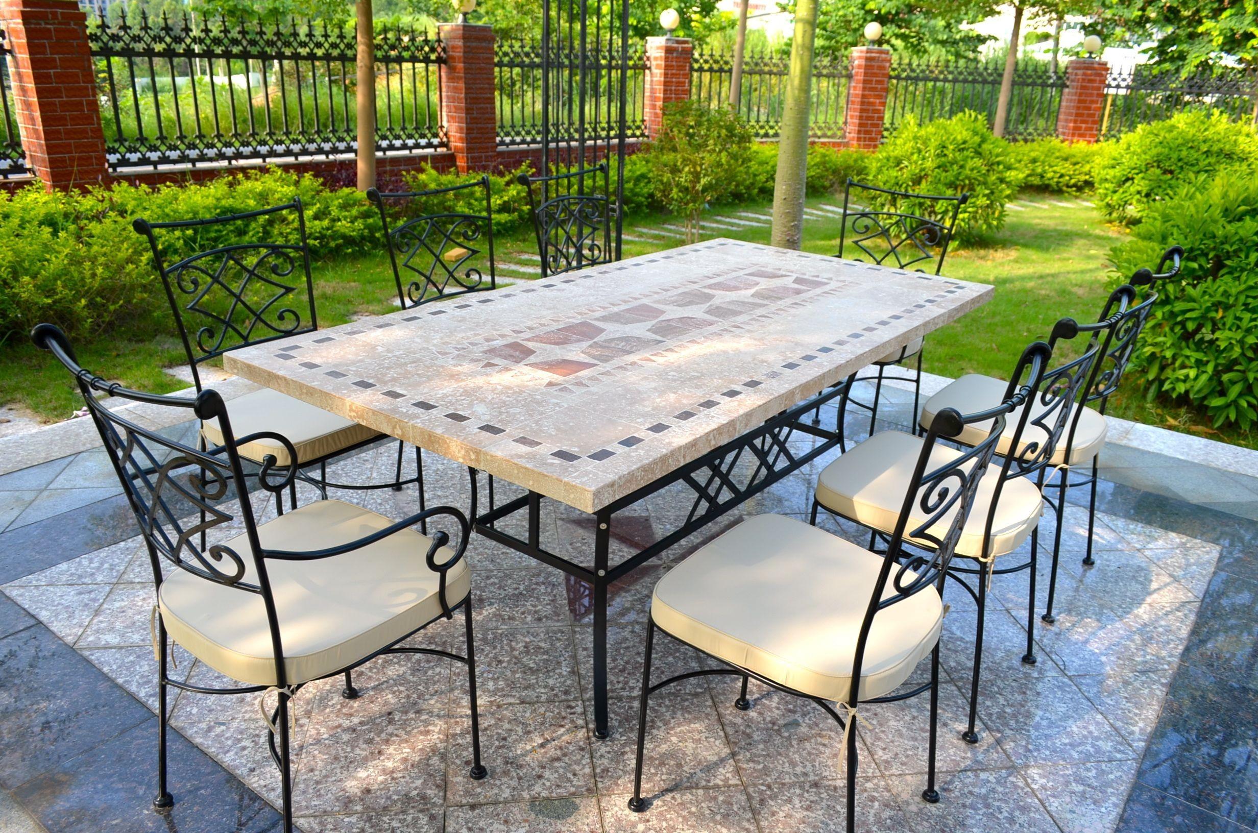 table de jardin mosaique marbre pierre naturelle 120 160 200 240 tampa